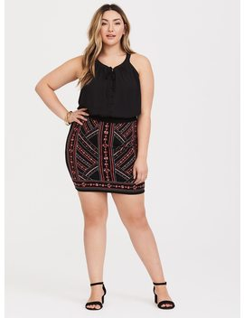 Black Embroidered Ponte Mini Pencil Skirt by Torrid