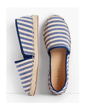 Izzy Canvas Espadrilles Blue & Natural Stripe by Talbots