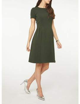 **Tall Green Crepe Fit And Flare Dress by Dorothy Perkins