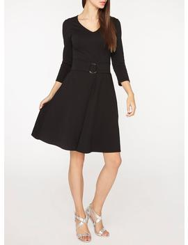 **Tall Black Ring Belted Skater Dress by Dorothy Perkins