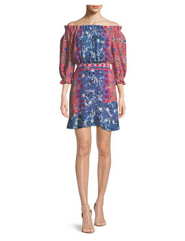 Grace Off The Shoulder Floral Print Silk Mini Dress by Saloni
