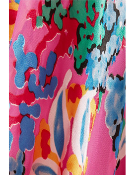 Ida B Floral Print Devoré Chiffon Midi Skirt by Saloni