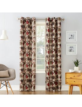 "No. 918 Celestial Grommet Curtain Panel, 48"" X 84"", Paprika Red by No. 918"