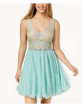 Juniors' Embellished Lace Corset Fit & Flare Dress by City Studios