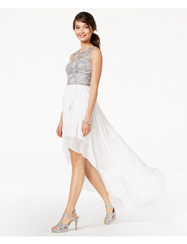 Juniors' Embroidered & Embellished High Low Dress by City Studios