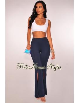 Navy Blue High Waist Slit Flare Leg Pants by Hot Miami Style