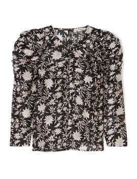 Posey Ruched Floral Print Cotton And Silk Blend Organza Blouse by Ulla Johnson