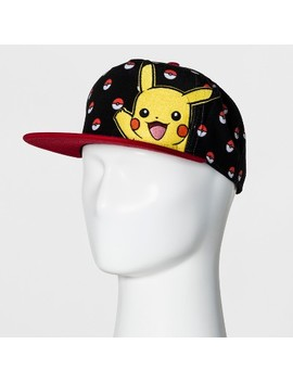 Men's Pokemon Pikachu And Pokeball Baseball Cap   Black/Red One Size by Pokemon