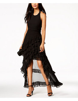 Ruffled Halter High Low Gown by Msk