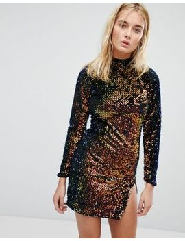 Motel Backless Bodycon Dress With High Neck In Velvet Sequin by Motel