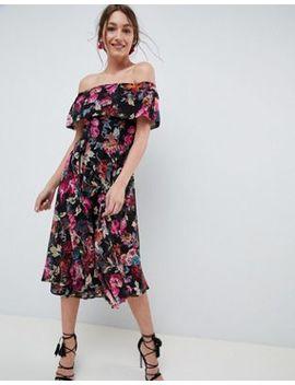 Asos Design Bardot Midi Dress In Dark Based Floral by Asos Design