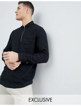 Noak Slim Fit Linen Shirt With Half Zip In Black by Noak