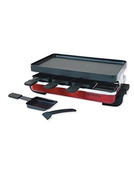 Swissmar Kf 77043 Classic 8 Person Raclette Party Grill With Reversible Cast Aluminum Non Stick Grill Plate/Crepe Top Red Enamel by Swissmar