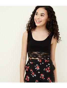 Teens Black Lace Trim Bralette by New Look