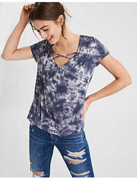 Ae Soft & Sexy Cross Front V Neck T Shirt by American Eagle Outfitters