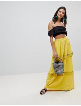 Asos Design Maxi Skirt With Tassel Trim by Asos Design
