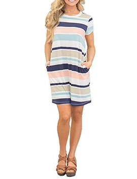 Chvity Women's Short Sleeve Midi Dress Casual Skirt Stripe Color Block Pockets by Chvity