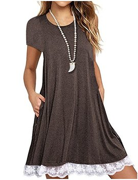 Angielucky Women's Short Sleeve Lace Tunic Dress Summer T Shirt Dress With Pockets by Angielucky