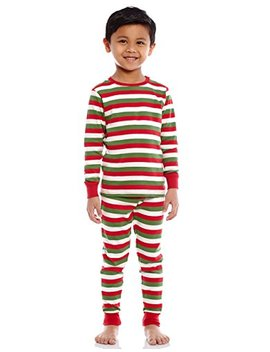Leveret Boys Girls Christmas Striped Red White Green 2 Piece Pajama Set Top & Pants 100 Percents Cotton (Size Toddler 14 Years) by Leveret