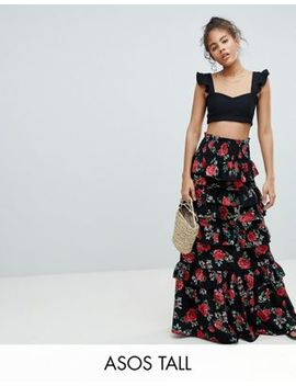Asos Design Tall Shirred Waist Tiered Maxi Skirt In Rose Floral Print by Asos Design