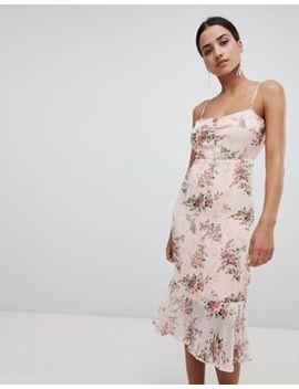 Boohoo Floral Peplum Hem Midi Dress by Boohoo