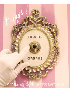 Press For Champagne Framed Vintage Button ( Ringing Version ) by Etsy