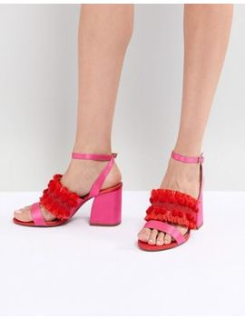 Asos Design Hot Cake Embroidered Block Heeled Sandals by Asos Design