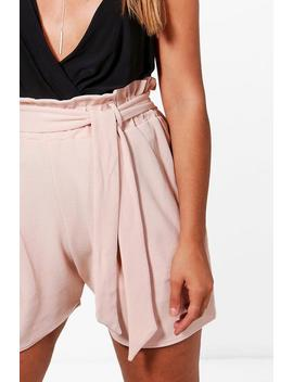 Plus Kelly Paper Bag Waist Tailored Short by Boohoo