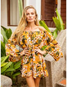 Bardot Flounce Sleeve Drawstring Florals Dress by Sheinside