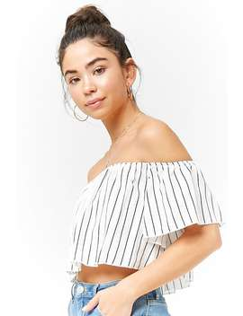 Pinstriped Off The Shoulder Crop Top by Forever 21