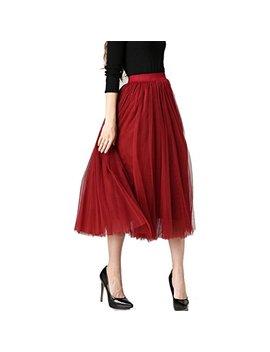 Xiaofeixia Pleated Maxi Skirts Womens Elegant Big Swing Long High Waist Skirt by Xiaofeixia Skirts