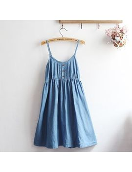 Strappy Denim A Line Dress by Akigogo