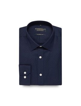 Hammond &Amp; Co. By Patrick Grant   Navy Spotted Tailored Fit Shirt by Hammond & Co. By Patrick Grant