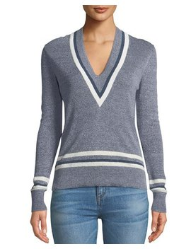 Walton V Neck Long Sleeve Melangé Sweater by Veronica Beard