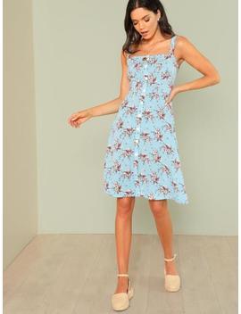 Flower Print Button Up Dress by Shein