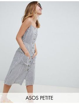Asos Design Petite Stripe Button Through Linen Midi Sundress by Asos Design