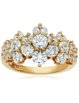 Yellow Gold Plated Sterling Silver Swarovski Zirconia Cluster Ring by Amazon Collection