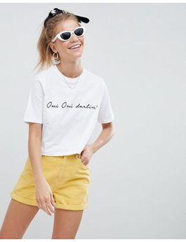"""Asos Design – Kurzes, Weißes T Shirt Mit Französischem Print """"Oui Darling"""" by Asos Design"""