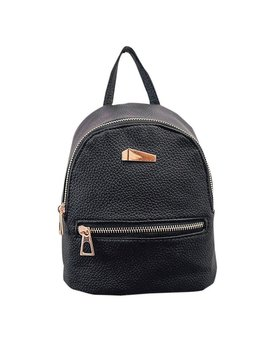 Lady Mini Backpack Fashion Casual Pu Leather Travel Handbag Rucksack Daypack School Shoulder Bag Black by Amazon