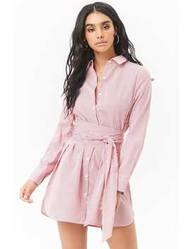 Striped Poplin Self Tie Shirt Dress by Forever 21