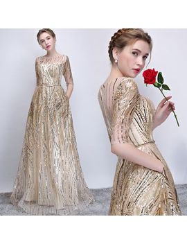 Elbow Sleeve Crystal Evening Gown by Sennyo