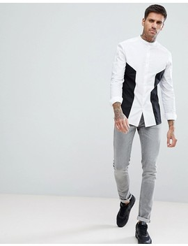 Asos Skinny Fit Cut & Sew Shirt With Black Panel And Grandad Collar by Asos