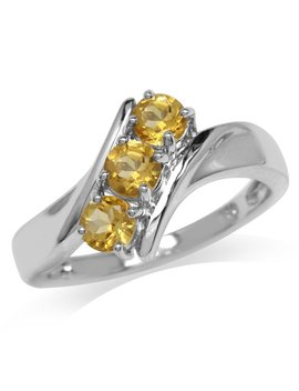 3 Stone Natural Citrine White Gold Plated 925 Sterling Silver Ring by Silvershake