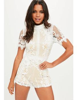 White High Neck Playsuit by Missguided