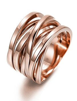 Ciunofor 13.7 Mm Stainless Steel Cross Ring Women Girls Statement Cocktail Ring Rose Gold Gold Plated by Ciunofor