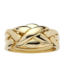 Palm Beach Jewelry 14k Yellow Gold Plated Braided Puzzle Ring by Palm Beach Jewelry