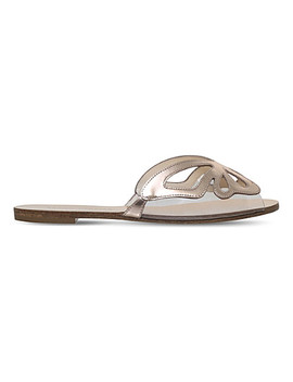 Madame Butterfly Metallic Leather Sliders by Sophia Webster