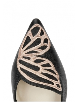 Bibi Black Leather Flats by Sophia Webster