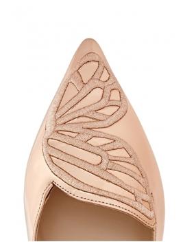 Bibi Rose Gold Leather Flats by Sophia Webster