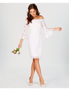 Off The Shoulder Lace Bell Sleeve Dress by Adrianna Papell